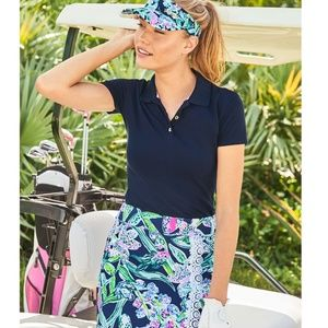 NWT Lilly MEREDITH Short Sleeve Polo Navy